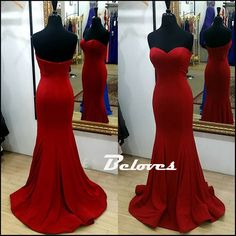 Gorgeous Red Sweetheart Silk Satin Mermaid Prom Gown With Sweep Train