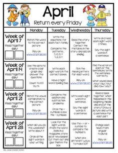 third grade summer homework calendar