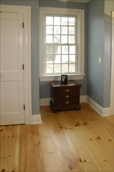 look at eastern white pine, a classic look and popular bedroom option.Another look at eastern white pine, a classic look and popular bedroom option. House, Wood Floors Wide Plank, Home, Wall Color Combination, Living Room Flooring, House Flooring, Heart Pine Flooring, House Interior, French Doors Interior