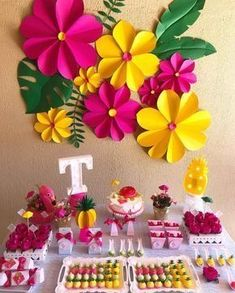 A festa flamingo mistura diversas cores com elementos tropicais. Veja uma série… The flamingo party mixes different colors with tropical elements. See a series of ideas for decorations, cakes and sweets to make an incredible celebration. Flamingo Party, Flamingo Birthday, Hawaiian Birthday, Luau Birthday, Birthday Party Themes, Paper Flowers Diy, Flower Crafts, Wall Flowers, Aloha Party