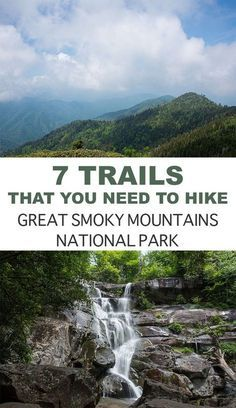 7 Must Hike Trails In The Great Smoky Mountains National Park. Hiking In The Smo… 7 Muss Wanderwege im Great Smoky Mountains National Park. Wandern in den Smokies. Great Smoky Mountains, Smoky Mountains Hiking, Smoky Mountains Tennessee, Rocky Mountains, Tennessee Hiking, Tennessee Vacation, Gatlinburg Tennessee, Pigeon Forge Tennessee, Colorado Hiking