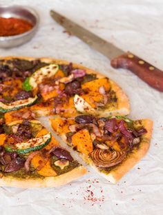 fall pizza with pumpkin slice out