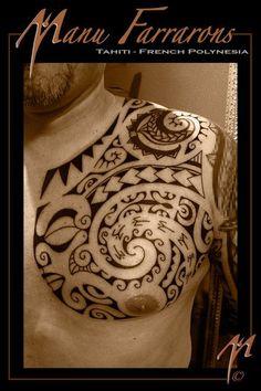 Chest Tattoo Polynesian style with Marquesas's Tiki for Man by Manu Farrarons #maoritattoosmen