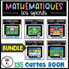 Voici un ensemble de 5 jeux de cartes de mathématiques sur le thème des sports. Il y a un total de 135 cartes!Ce qui est inclus : Les nombres pairs et impairs - Basketball (20 cartes) La valeur de position des nombres 1 à 100 - Baseball (30 cartes) L'addition 1 à 10 - Soccer (30 cartes) Comparer les nombres 1 à 100 - Football (30 cartes) La soustraction 1 à 10 - Hockey (25 cartes). #Frenchboomcards #boomcards#cartesnumériques #mathematiques #centresdesmaths #pa