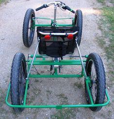 custom quad cycle made by Lightfoot Cycles in Montana. Trike Bicycle, Recumbent Bicycle, Sidecar, Three Wheel Bicycle, Mini Jeep, Bike Cart, Velo Cargo, Diy Go Kart, Push Bikes