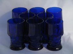 old Georgian pattern glass tumblers, vintage cobalt blue glasses, set of 8