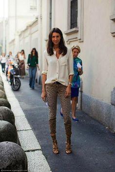 lace up sandals, leopard jeans & silk blouse!
