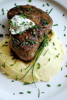 A Wise Woman Builds Her Home: Porcini Crusted Filet Mignon with Fresh Herb Butter