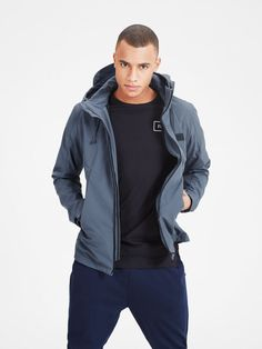 Ombre blue detailed jacket, made from lightweight and durable material, with a detachable hood | JACK & JONES #jacket #hood #hoodie #cool #velcro #detail #scandinavian #minimalistic #style