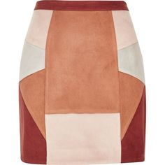 River Island Red faux suede patchwork mini skirt (160 PEN) ❤ liked on Polyvore featuring skirts, mini skirts, red, women, short mini skirts, red skirt, red miniskirt, river island and short skirts