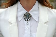 A brooch fit for royalty and my two white collars
