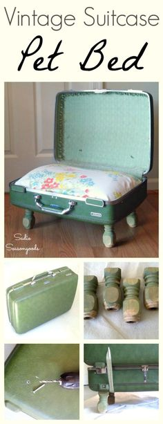 Repurpose a vintage hard-sided suitcase in a charming, quirky pet bed with this DIY tutorial! It's an easy upcycle craft project and the materials are easy to find at antique, vintage, and thrift stores. #SadieSeasongoods / www.sadieseasongoods.com