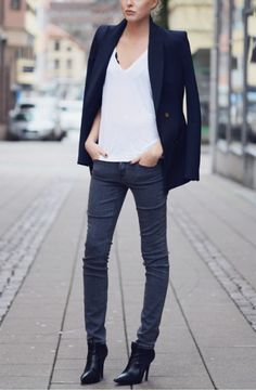 Navy Blazer, grey skinny jean, white t shirt, black boots. Beyond the absurdly thin part, this is a great look.