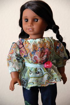 """Dollhouse Designs Pleasant Peasant Sewing Pattern for 18"""" Dolls Blouse -Tunic- Dress. $5.99, via Etsy."""