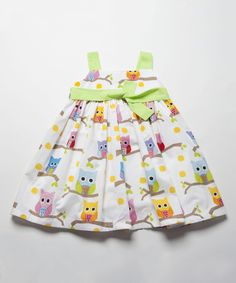 Look at this White & Green Owls Pleated Dress - Infant, Toddler & Girls on #zulily today!