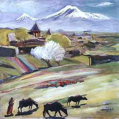 'Spring day', Oil On Canvas by Martiros Saryan (1880-1972, Russia)