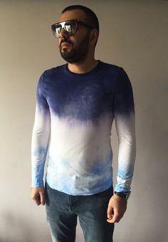 Ombre Mens Purple Blue T-shirt Hand Dyed by BannerDesignShop