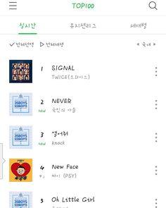 Naver Music Top100 1.Twice---signal 2.Produce 101 season 2--never  . . . #twice#once#nayeon#jeongyeon#momo#sana#jihyo#mina#dahyun#chaeyeong#tzuyu#signal#top100#naver#produce101season2#never#jonghyun#guanlin#minhyun#seongwoo#jaehwan#daehwi