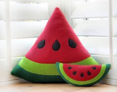 This watermelon slice pillow is too cute.