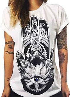 KOINECO Women's Khamsa Hand Printed T Shirts White Small ...