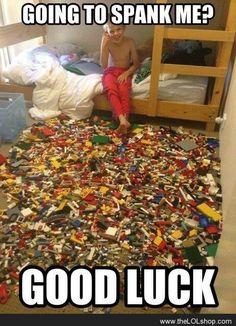 Haha! Stepping on Legos hurt!