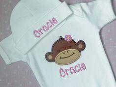 Baby Girl Onesie and Beanie Hat  Mod Monkey by BabyChichiBoutique, $35.50