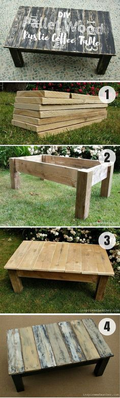 Check how to build this easy DIY Pallet Wood Rustic Coffee Table @Industry Standard Design