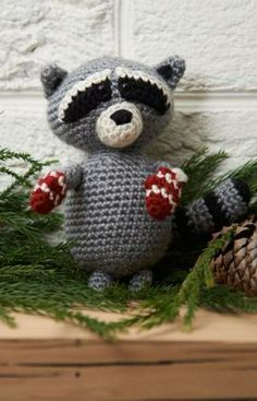 Raccoon Ornament Free Crochet Pattern from Red Heart Yarns