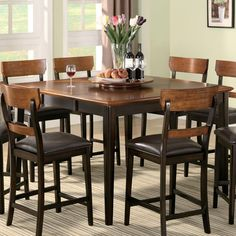 baxenburg brown square counter height dining room table w/4