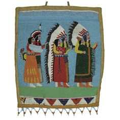 "Lot 737: Flathead Bag c. 19020 Three Indian couples in traditional dress dancing the owl dance 16 1/2"" x 14"" Sold for $8500"
