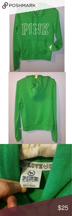 💚 Green Victoria's Secret PINK hoodie, small 💚 This is a green hooded sweatshirt by V.S. Pink. Size small.  Great condition! PINK Victoria's Secret Tops Sweatshirts & Hoodies