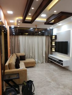 Interior Designer in Thane _ One Stop Solutions In Budget Drawing Room Ceiling Design, House Ceiling Design, Ceiling Design Living Room, False Ceiling Living Room, Bedroom False Ceiling Design, Bedroom Bed Design, Ceiling Decor, Living Room Designs, Gypsum Ceiling Design