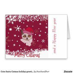 Cute Santa Catmas holiday greeting card