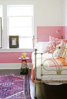 half pink wall, gnome as side table bedroom