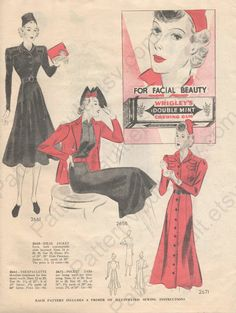 Simplicity Fashion Forecast, February 1938 featuring Simplicity 2661, 2658 and 2671
