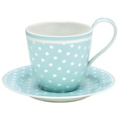 GreenGate Spot Teacup & Saucer Pale Blue ($24) ❤ liked on Polyvore featuring home, kitchen & dining, drinkware, fillers, kitchen, tea, props, tea cup, greengate and tea cups and saucers