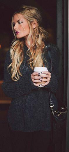 street style dark gray knit @wachabuy