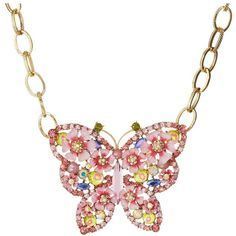Betsey Johnson Spring Glam Butterfly Frontal Necklace ($66) ❤ liked on Polyvore featuring jewelry, necklaces, long necklace, bead chain necklace, bead necklace, pendants & necklaces and betsey johnson necklace
