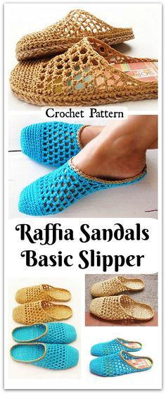 These cute slippers are made using Raffia, a light and strong fiber. It is perfect for footwear, not as soft, pliable or stretchy as normal yarn but amazingly comfortable. Crochet Slipper Boots, Crochet Shoes, Knit Or Crochet, Cute Slippers, Knitted Slippers, Crochet Flip Flops, Raffia Hat, Crochet Handbags, Crochet Accessories