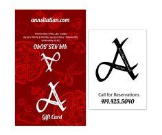 Nicole Esche Graphic Design, Milwaukee, Ann's Italian Restaurant, Gift Card, Jacket, Package Design