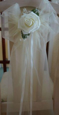 10 Organza Ivory Rose Pew Ends/ Chairbacks Chair Sash Weddings