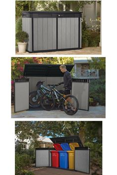 Triple Wheelie Bin Storage. Bike Storage. Patio Shed. Low Height Shed for Gardening Equipment: The Low Maintenance Grande-Store