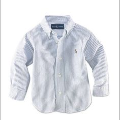 🎊💥 HOST PICK 💥🎊 Ralph Lauren button down. Preppy long-sleeved sport shirt in striped cotton oxford, washed for well-worn softness. Featuring a button-down collar, applied placket, barrel cuffs, shirttail hem. Just needs to be pressed. In perfect condition.   100% Cotton Machine Wash Imported Ralph Lauren Shirts & Tops Button Down Shirts