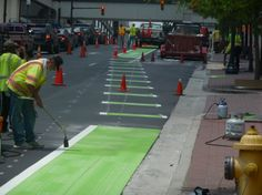 #Charlotte bike lanes go green, literally, to help avoid alleviate conflict areas.