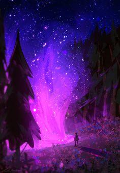 Fantasy Art Landscapes, Fantasy Landscape, Landscape Art, Background Drawing, Sky Art, Cool Backgrounds, Anime Scenery, Aesthetic Iphone Wallpaper, Galaxy Wallpaper