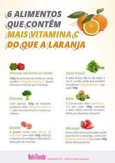 6 alimentos que contêm mail Vitamina C de que a laranja