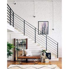 Darrow Tan Leather Ottoman with Geometric Metal Legs Indoor Railing, Interior Stair Railing, Modern Stair Railing, Stair Railing Design, Staircase Railings, Bannister, Staircases, Metal Railings, Stair Case Railing Ideas