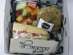 Box Lunch w/ Fruit and Cookie, Gourmet Gang - Desktop Cafe Boxed Lunch Catering, Breakfast Basket, Bistro Food, Sandwich Bar, Food Trailer, Edible Food, Lunch To Go, Cafe Food, Kraft Recipes