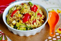 Grilled Corn Orzo Salad with Chili Lime Vinaigrette by Iowa Girl Eats