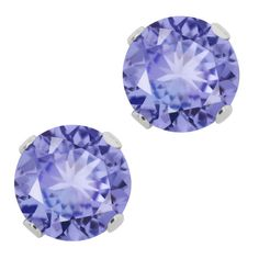 1.25 Ct Round Genuine Tanzanite 925 Sterling Silver Stud Earrings 5mm #GemStoneKing #Stud